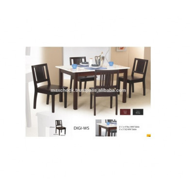 Contemporary Design Solid Wood Marble Top Dining Table & Chairs DIGI-WS