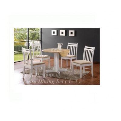 TS Luisa Dining Set ( 1+4 ) with Drop Leaf Table